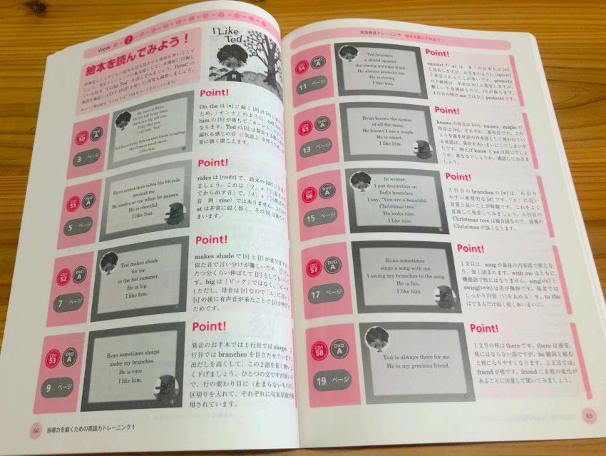 絵本の読み方を指導するページの写真:小学校英語指導者資格認定 +アルク児童英語教師養成コース