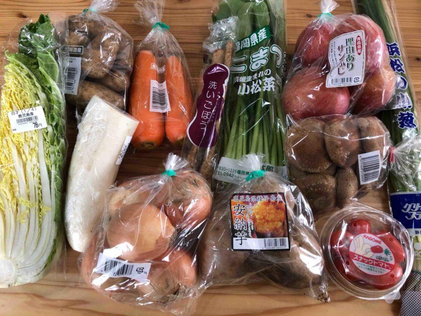 1週間分の料理に使う野菜達