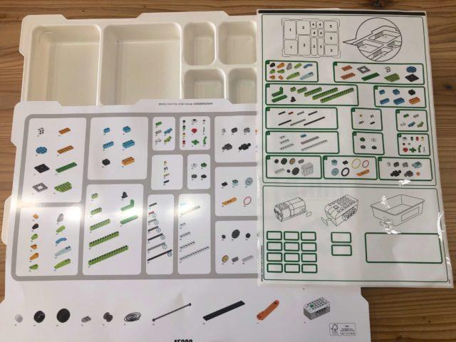 レゴプログラミングロボット【レゴWeDo 2.0 】を収納するプラスチックの仕切ケースのシールの写真